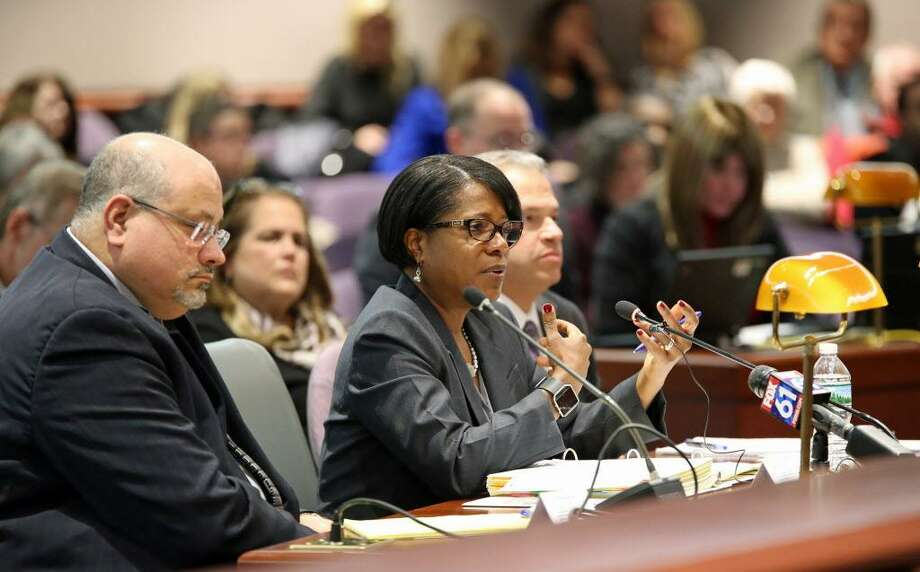 Miriam Delphin-Rittmon, commissioner of the Department of Mental Health and Addiction Services, testifies Monday at the state Legislative Office Building during a public hearing on allegations of patient abuse by staff at Connecticut Valley Hospital's Whiting Forensic Institute. Photo: Christine Stuart / Connecticut News Junkie