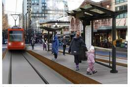 A rendering of the City Center Connector streetcar line downtown, which will get under construction early next year.