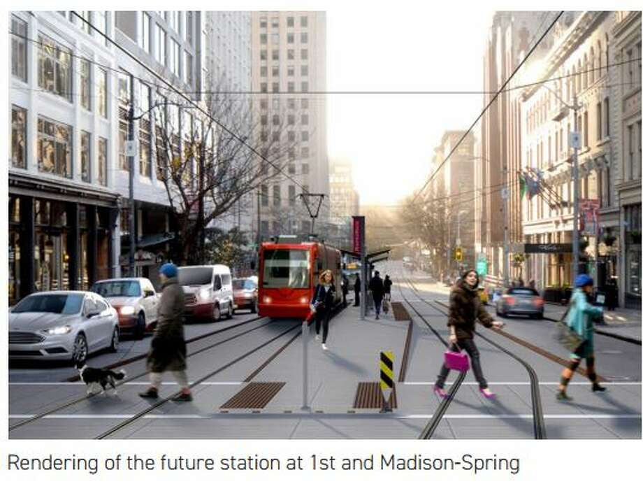 A rendering of the City Center Connector streetcar line downtown, which will get under construction early next year. Photo: SDOT