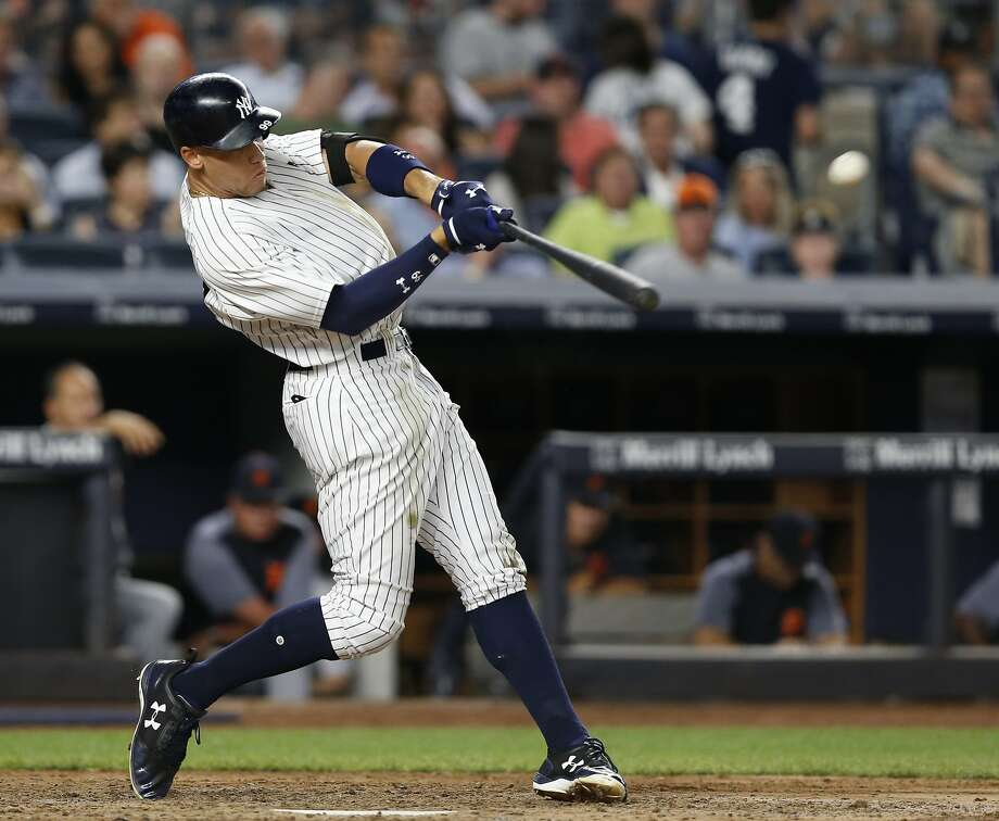 The Yankees' Aaron Judge hits a solo home run against the Detroit Tigers at Yankee Stadium in New York in July. Photo: Kathy Willens, Associated Press