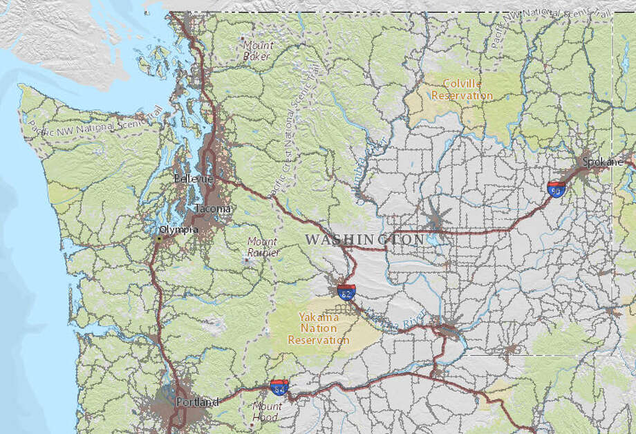 The U.S. Department of Transportation tracks noise pollution with an eye toward car and airplane noise. The blackened areas above are noise hot spots. Take a closer look at where noise is at its worst around Washington state. Photo: National Transportation Noise Map