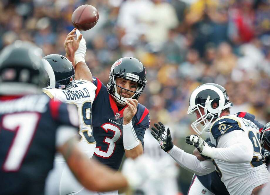 Texans quarterback Tom Savage (3) had trouble keeping control of the ball Sunday against the Los Angeles Rams, losing two fumbles in addition to throwing two interceptions.To see where the Texans rank and the rest of the General's NFL power rankings for Week 11, browse through the slideshow. Photo: Brett Coomer, Staff / © 2017 Houston Chronicle