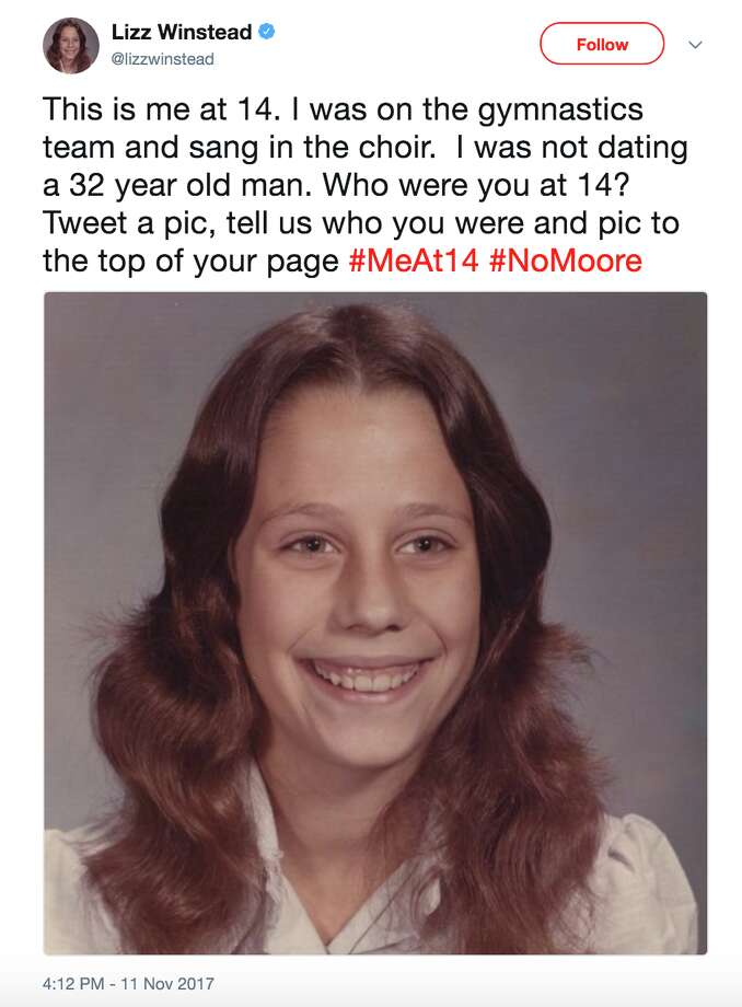 Twitter users post photos of themselves captioned #MeAt14 in response to allegations that Senate candidate Roy Moore dated a 14-year-old girl. Photo: Twitter/@Lizzwinstead