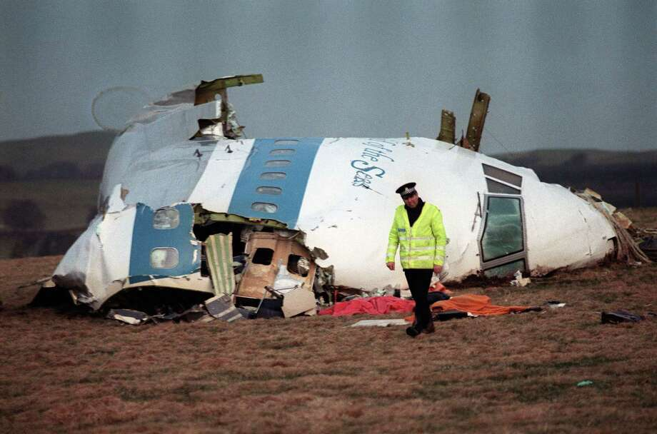 A picture taken in Lockerbie on Dec. 22, 1988, shows the wreckage of Pan Am flight 103 aircraft that exploded, killing all 259 people aboard. (AFP PHOTO / ROY LETKEY/FILESROY LETKEY/AFP/Getty Images) Photo: ROY LETKEY / AFP ImageForum