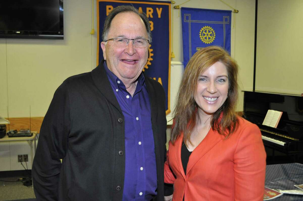 Guest Speaker Susanna é¢??Dokupil is pictured with Pasadena Rotarian Bill Mc Millin. She is the Assistant Head of the Harris County Republican Party, where her activities include fund raising for many candidates including Senator Ted Cruz, Board member of the Kingwood Tea Party and Treasurer of the Texas Conservative View. Her impressive background includes graduating from Harvard School of Law, Clerking for the Honorable Jerry Smith of the US Court of Appeals and is the author of over 75 articles for the Washington Times, The American Enterprise, The Texas Review of Law and Politics and the Houston Chronicle. With this resume she surprised the Club with the announcement that é¢??She wasné¢??t going to talk about politicsé¢?. Instead she talked of her quest to promote the American Dream of Open Mindedness. Using videos and other social media venues she outlined a story telling approach. é¢??Too often we push away from presentations that doné¢??t confirm our existing beliefsé¢?. Telling a story is an unobtrusive way of presenting several views of the same subject letting the listener arrive at a better conclusion after hearing all the facts. She closed her presentation urging all to vote their convictions November 4th saying é¢??When we fail to limit Government, we limit ourselves.é¢?