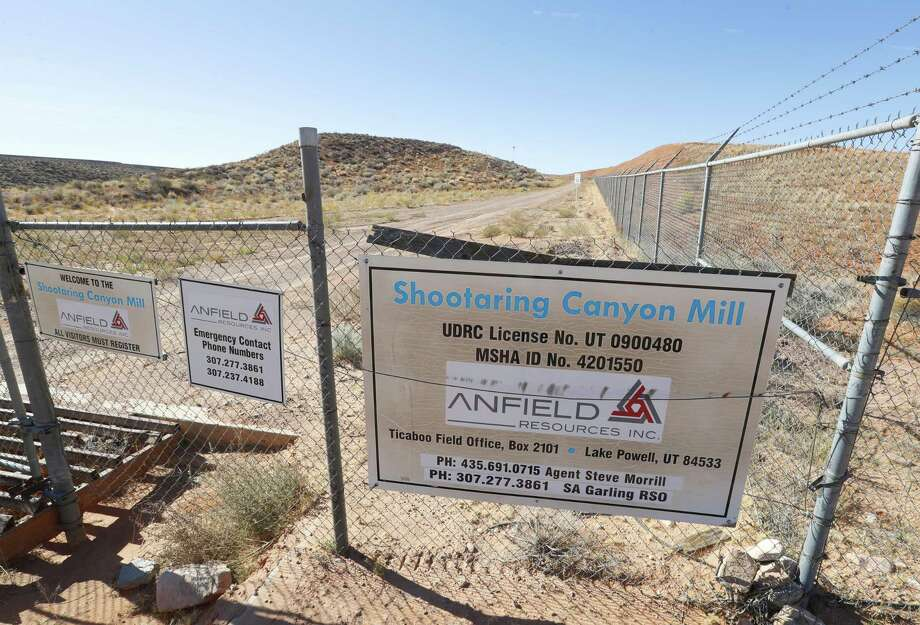 TICABOO, UT - OCTOBER 27: Signage hangs from the front gate of the Anfield's  Shootaring Canyon Uranium Mill on October 27, 2017 outside Ticaboo, Utah. Anfield with is in partnership with the Russian firm Uranium One, and bought the mill from Uranium One in 2015. The House of Representatives is getting ready to investigate the Obama-era approval sale of Uranium One to a Russian company.   (Photo by George Frey/Getty Images) Photo: George Frey, Stringer / Getty Images / 2017 Getty Images
