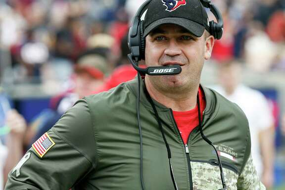 Houston Texans head coach Bill O'Brien walks up the sidelines during the first quarter of an NFL football game at the Los Angeles Memorial Coliseum on Sunday, Nov. 12, 2017, in Los Angeles, Mass. ( Brett Coomer / Houston Chronicle )