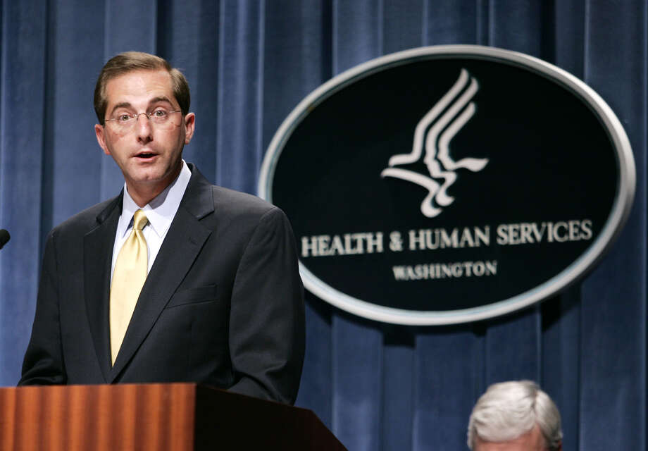 Alex Azar, then deputy secretary at the Health and Human Services Department, holds a news conference in 2006 in Washington.   Photo: EVAN VUCCI, STF / AP2006