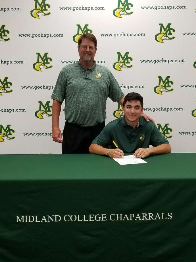 Midland College golfer Michael Salazar, with coach Walt Williams (standing), signs with Grand Canyon University. Courtesy photo