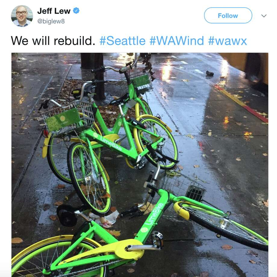 "Twitter users reacted to Monday's wind storm with awe, disbelief, and an obligatory ""We will rebuild"" meme.  Photo: Twitter Screenshot"