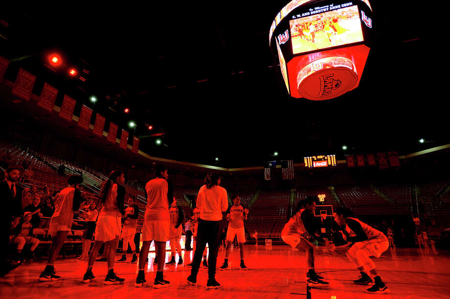 Lamar's starting lineup is announced before the women's basketball team's season opener against Louisiana College at the Montagne Center on Monday night. The Lady Cardinals went undefeated at home last season.  Photo taken Monday 11/13/17 Ryan Pelham/The Enterprise Photo: Ryan Pelham / ©2017 The Beaumont Enterprise/Ryan Pelham