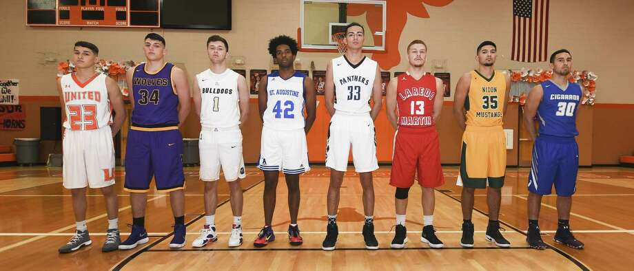 From left, United's Andy Pompa, LBJ's Bryan Garza, Alexander's Marco Peña, St. Augustine's D'Andre Griffin, United South's Joel Johnson, Martin's Luis Omar Ortegon, Nixon's Rogelio Vasquez and Cigarroa's Edgar Fraga are leading their teams into the 2017-18 season. Photo: Danny Zaragoza /Laredo Morning Times / Laredo Morning Times