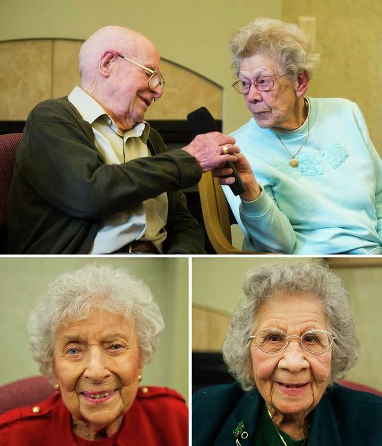 Top: Frieda Milano, 100, right, passes a microphone to Howard Shaver, 100, during a conversation between a panel of four Midland centenarians on Thursday at the Herbert D. Doan Midland County History Center. The Fireside Chat 'Centenarian Birthday Party' was hosted by the Midland County Historical Society. Bottom: Rhea Currie, 101, left, and Rosa Miller, 100, right, each pose for a portrait after participating in the panel. The four centenarians took turns recalling personal memories from the 1920s onward, including memories from school, World War II, marriage, and having children, grandchildren and great-grandchildren. For more photos, go to www.ourmidland.com (Katy Kildee/kkildee@mdn.net)