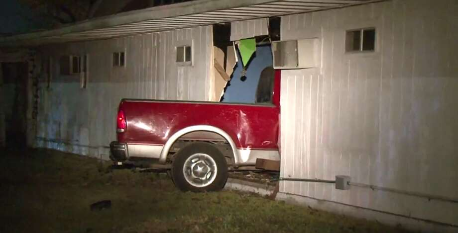 Two people were arrested after a car crashed early Tuesday into a north Houston church. (Metro Video) Photo: Metro Video