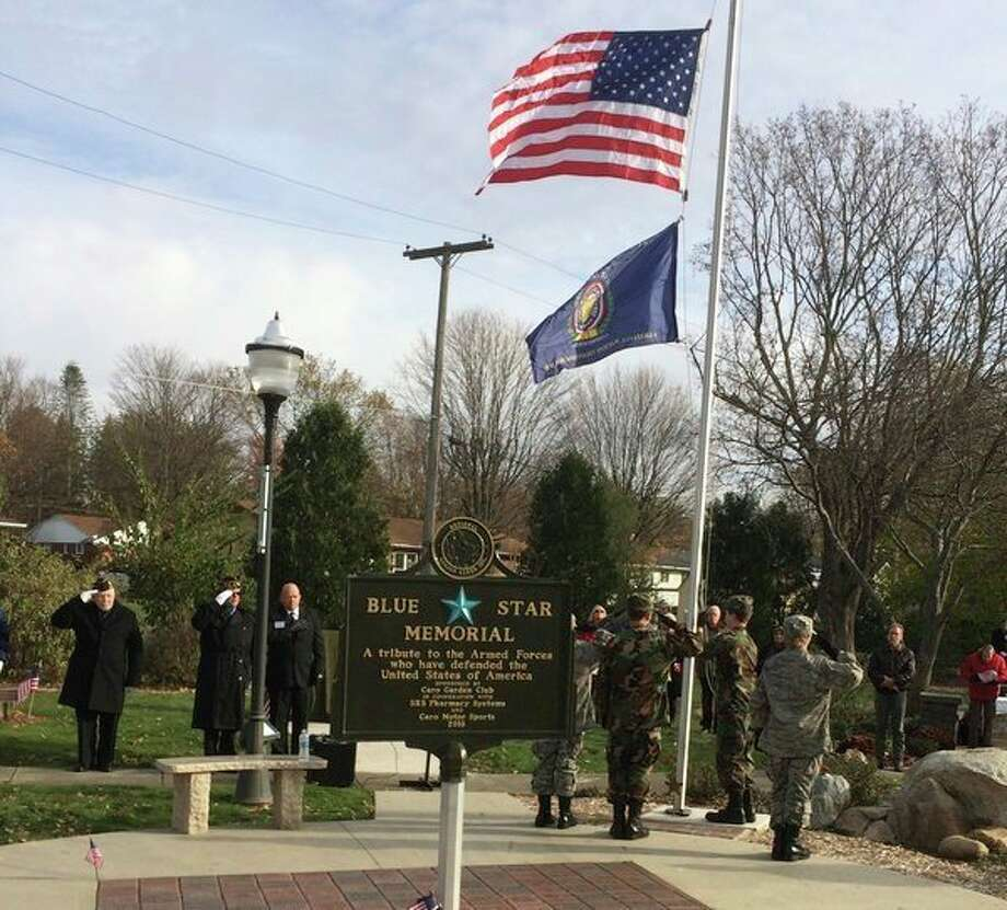 A tree was recently planted in the Caro Garden Club's Blue Star Memorial Park on Hooper Street along with the dedication of a bronze plaque was donated. Pins were presented to those who served between Nov. 1, 1955, and May 15, 1975, which are the dates covered for the Vietnam War.On the 11thmonth, on the 11thday, at the 11thhour, Vietnam Veterans were honored during a special program commemorating the 50th anniversary of the VietnamWar. (Mary Drier/For the Tribune)