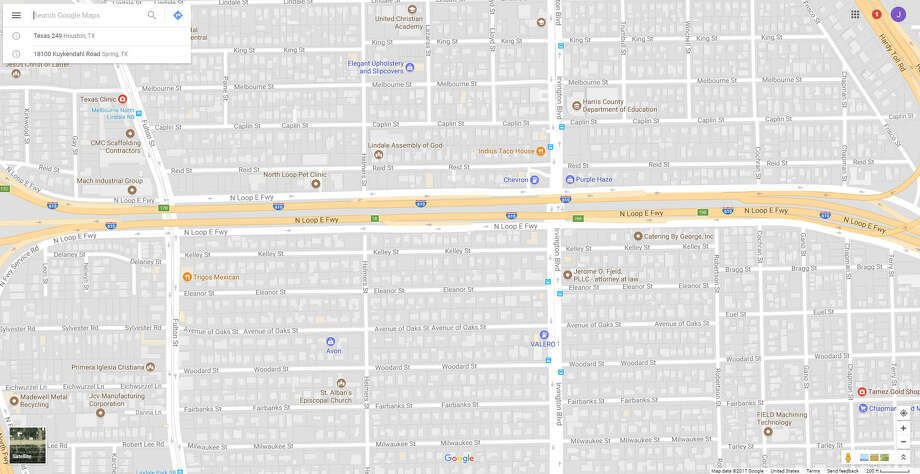 A screenshot of a Google Maps image of Irvington Blvd and Loop 610 North in Houston, Texas. On Nov. 14, 2017, a car crash ejected a child in the area. Photo: File/Google