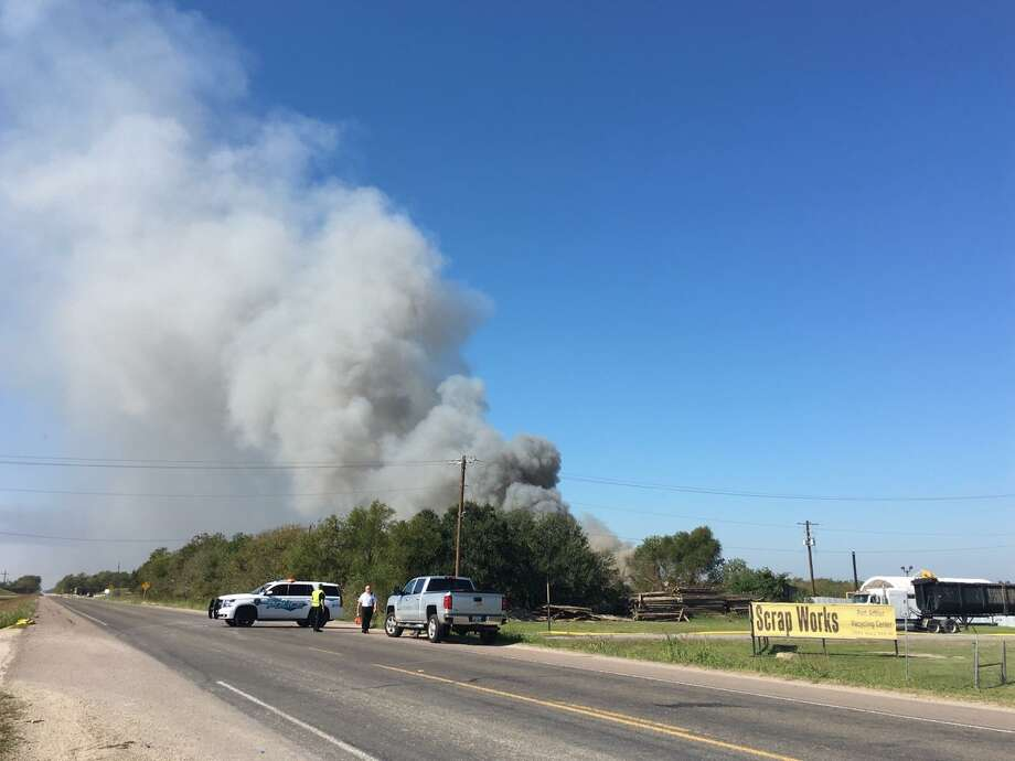 Emergency crews are responding to reports of a fire near Scrap Works Recycling Port Arthur on FM 365. Photos: Krista Chandler/The Enterprise Photo: Krista Chandler/The Enterprise