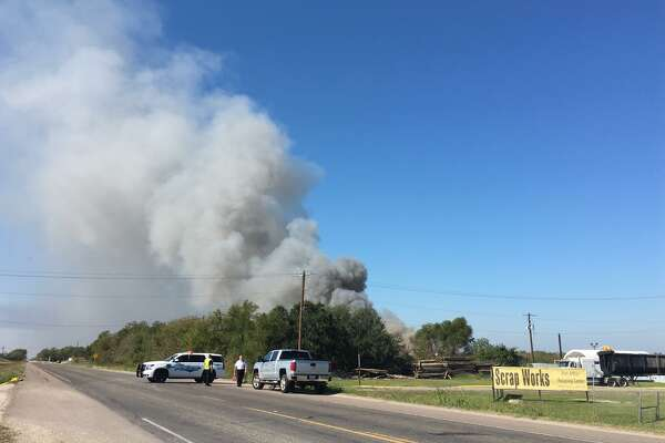 Emergency crews are responding to reports of a fire near Scrap Works Recycling Port Arthur on FM 365. Photos: Krista Chandler/The Enterprise