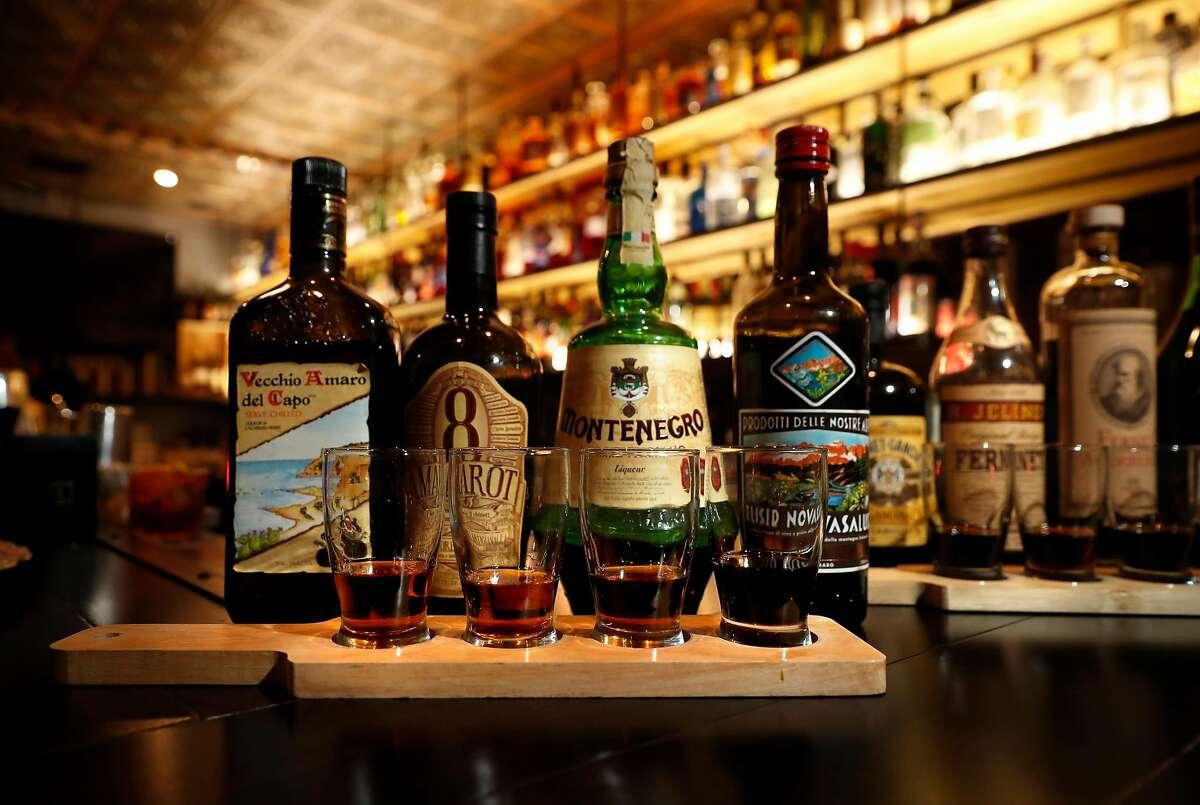 A flight of Amaro brands at Bar 821 along Divisadero St. on Monday Nov. 13, 2017, in San Francisco , Ca.