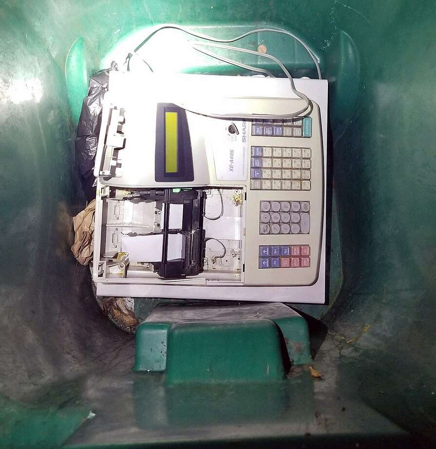 Police found this stolen cash register in a large recycling bin Thursday night. Fairfield,CT. 11/9/17 Photo: Contributed / Contributed Photo / Fairfield Citizen
