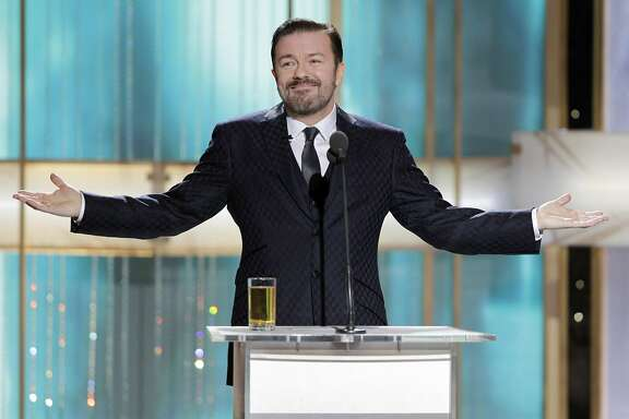 FILE - In this Jan. 16, 2011 publicity image released by NBC, host Ricky Gervais is shown during the 68th Annual Golden Globe Awards in Beverly Hills, Calif.  Gervais will host the 69th Annual Golden Globe Awards on Sunday, Jan. 15, 2012. (AP Photo/NBC, Paul Drinkwater, file)