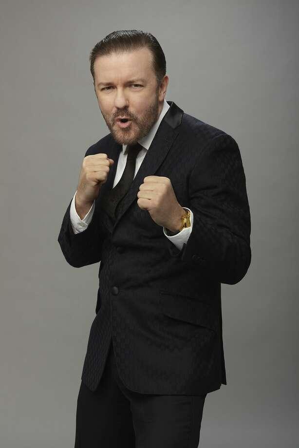 Ricky Gervais returns to host the Golden Globe Awards on NBC. GOLDEN GLOBE AWARDS -- 73rd Annual Golden Globe Awards -- Pictured: Host, Ricky Gervais -- (Photo by: Todd Antony/NBC) Photo: Courtesy, NBC