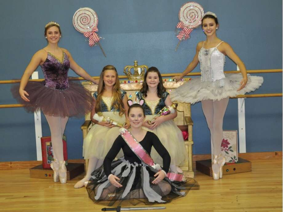 "Backstage Dance Studio will host performances of ""The Nutcracker"" Dec. 2 at 2 p.m. and 5:30 p.m. at the Conroe High School Auditorium. Pictured are the Sugar Plum Fairy - Abbey Fleming; Clara at 2 p.m. performance - Tori Scholl; Clara at 5:30 performance - Bella Tessman; Snow Queen - Emily Cook and on floor - Rat Queen - Avery Waller. They are pictured at a Nutcracker Holiday Party held on Nov. 11."