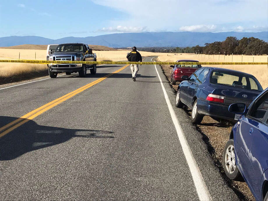 Crime tape blocks off Rancho Tehama Road leading into the Rancho Tehama subdivision south of Red Bluff, Calif., following a fatal shooting on Tuesday, Nov. 14, 2017. Photo: Jim Schultz/The Record Searchlight Via AP