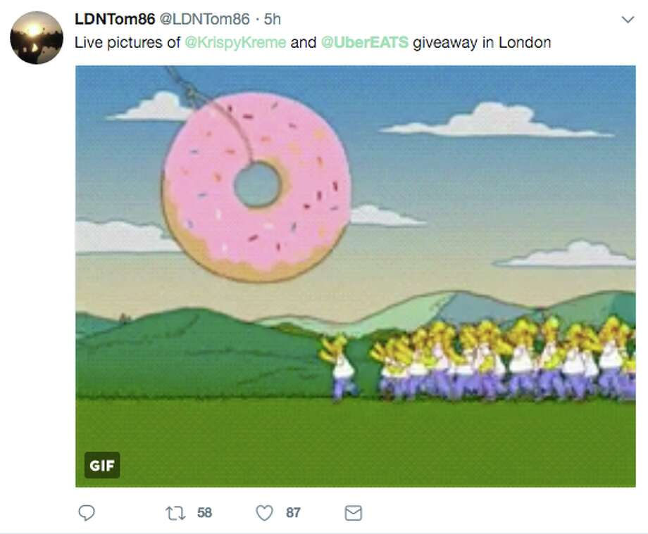 Disgruntled Londoners took to Twitter after UberEats crashed in the midst of a free Krispy Kreme donut promotion. Photo: Twitter Screen Grab