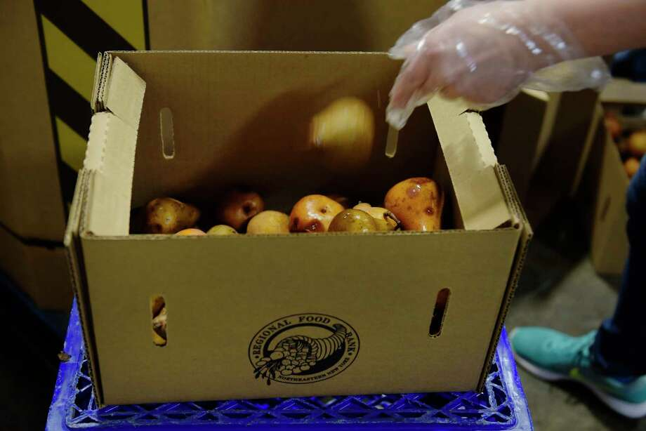 Ashley Gibbons places a pear into a box as she picks through donated pears to find the good ones as she volunteered at the Regional Food Bank on Sunday, Oct. 22, 2017, in Latham, N.Y.  (Paul Buckowski / Times Union) Photo: PAUL BUCKOWSKI / 20041863A