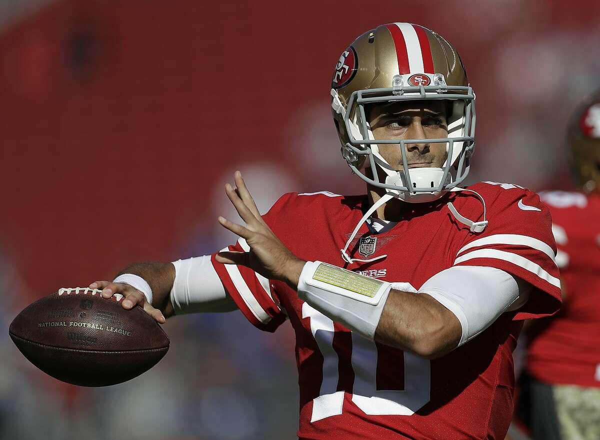 San Francisco 49ers quarterback Jimmy Garoppolo (10) warms up before an NFL football game against the New York Giants in Santa Clara, Calif., Sunday, Nov. 12, 2017. (AP Photo/Marcio Jose Sanchez)