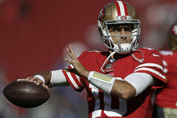 San Francisco 49ers quarterback Jimmy Garoppolo (10) warms up before an NFL football game against the New York Giants in Santa Clara, Calif., Sunday, Nov. 12, 2017. (AP Photo/Marcio Jose Sanchez)