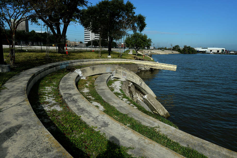 The amphitheater at Riverfront Park was destroyed by flooding and shoreline erosion during Tropical Storm Harvey.  Photo taken Tuesday 11/14/17 Ryan Pelham/The Enterprise Photo: Ryan Pelham / ©2017 The Beaumont Enterprise/Ryan Pelham