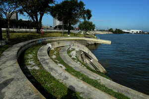 The amphitheater at Riverfront Park was destroyed by flooding and shoreline erosion during Tropical Storm Harvey.  Photo taken Tuesday 11/14/17 Ryan Pelham/The Enterprise