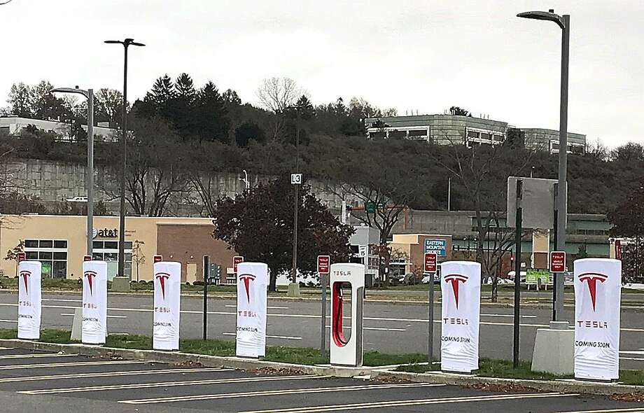 7 Backus Avenue: A 10-stall Tesla supercharger station will be in operation soon at Danbury Fair. The station is located at the outer edge of the parking lot near the south entrance of Macy's. In May, Tesla opened a 14-stall charger at the Connecticut Post mall in Milford. Photo: Chris Bosak / Hearst Connecticut Media / The News-Times