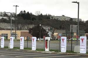 7 Backus Avenue: A 10-stall Tesla supercharger station will be in operation soon at Danbury Fair. The station is located at the outer edge of the parking lot near the south entrance of Macy's. In May, Tesla opened a 14-stall charger at the Connecticut Post mall in Milford.