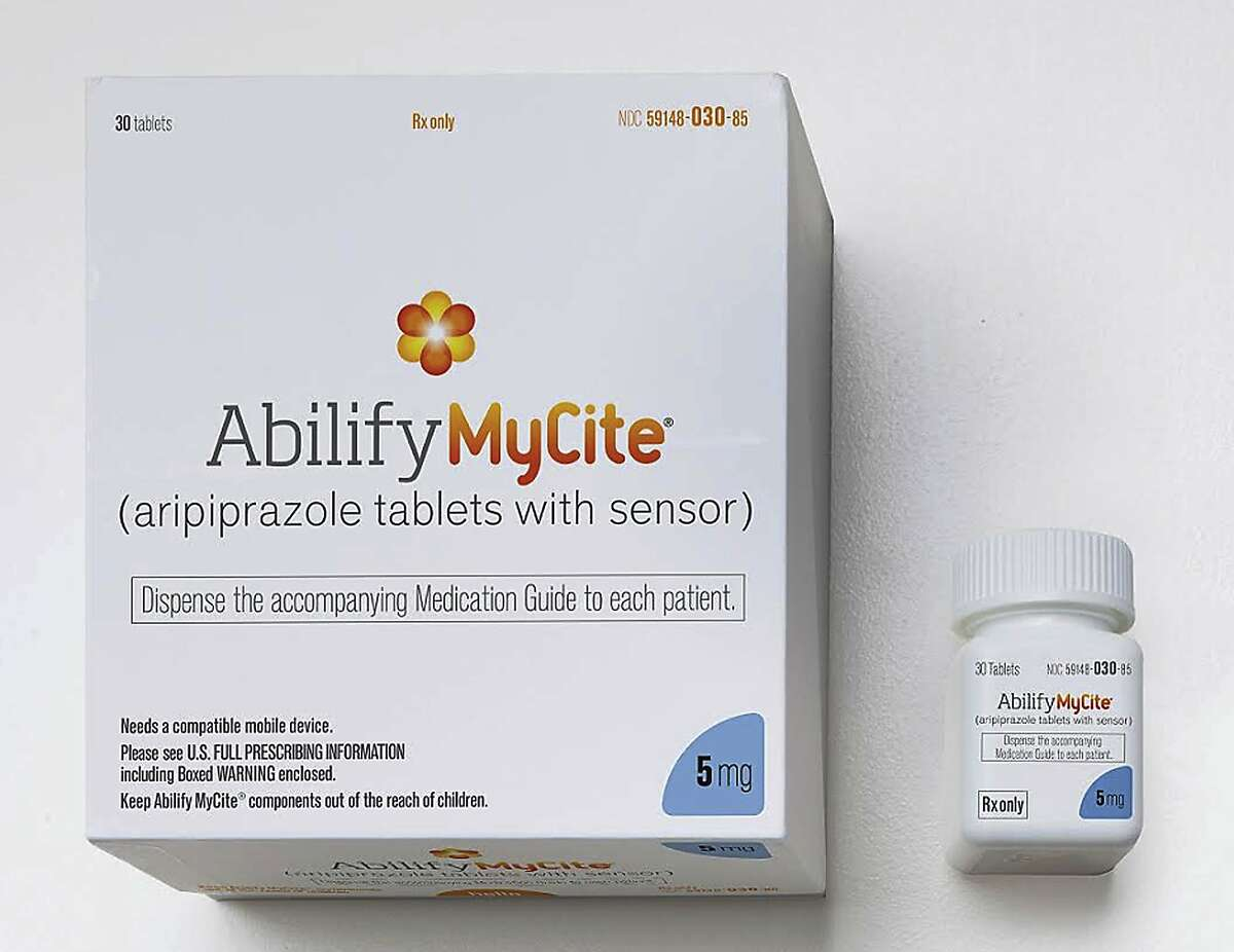 This photo provided by Otsuka America Pharmaceutical, Inc. shows a rendering of the packaging for Abilify MyCite.