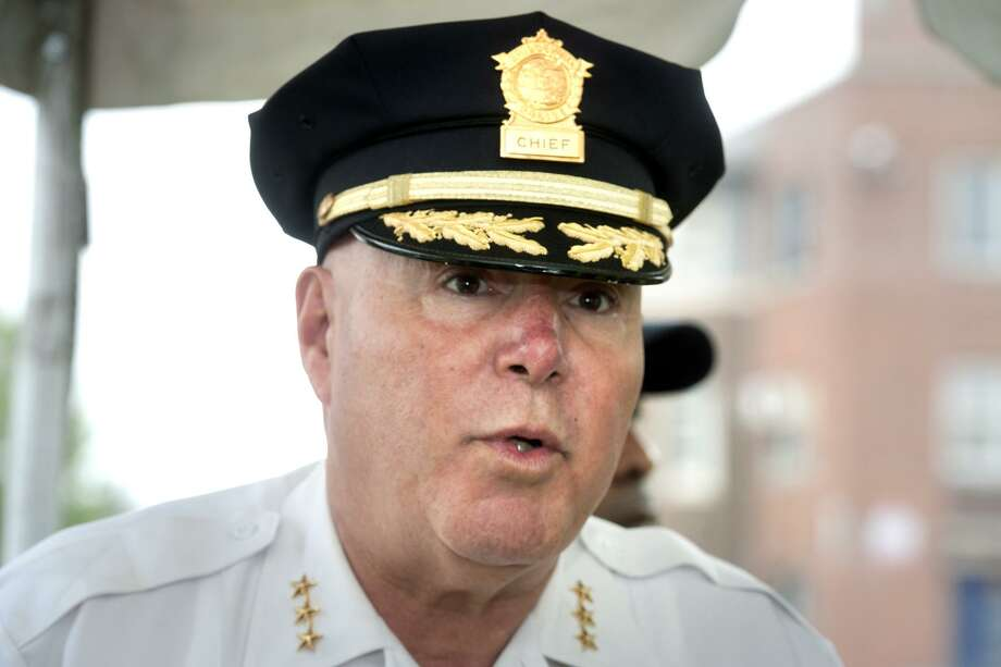 Bridgeport Police Chief Armando Perez at the Charles F. Greene Homes in June. Perez confirmed Tuesday that he has put Sgt. Chris Robinson on paid suspension. Photo: Ned Gerard / Hearst Connecticut Media / Connecticut Post