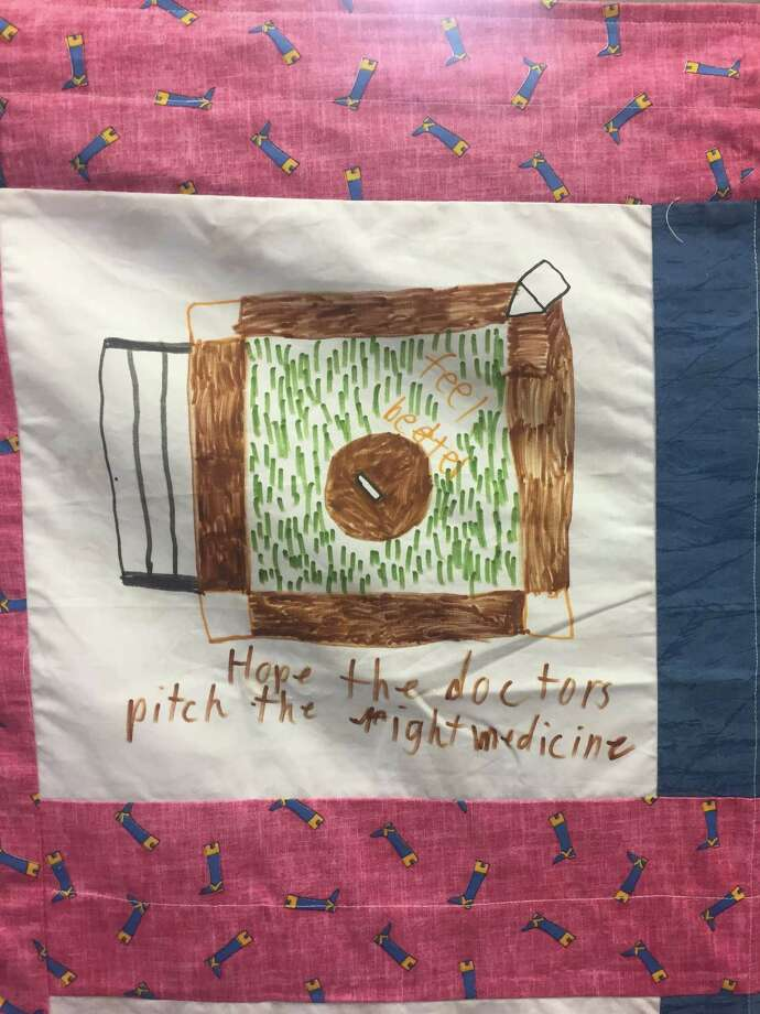 Quilt square made by a Windham-Ashland-Jewett Central School student, in a Patchworkers quilt that will go to Albany Medical Center this year. (Claire Hughes / Times Union)