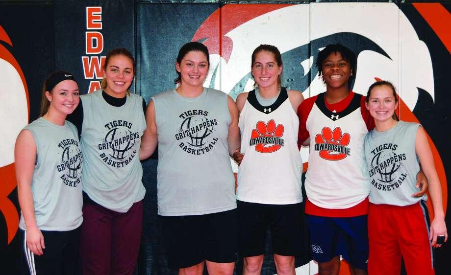 Senior members of the EHS girls' basketball team from left to right are: Rachel Vinyard, Rachel Pranger, Sydney Kolnsberg, Kate Martin, Myriah Noodel-Haywood and Lauren Taplin.