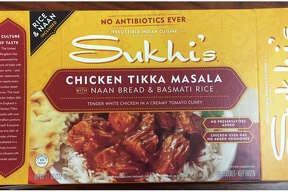 Packages of Sukhi's Gourmet Indian Foods are being recalled after a sample tested positive for Listeria. Above are images of the affected items and lot number.