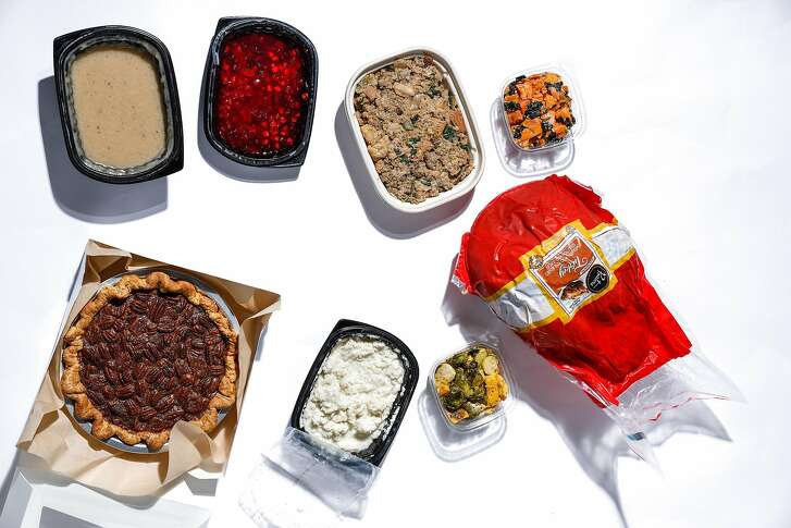 Thanksgiving dinner items one can get through delivery are seen on Tuesday, Nov. 14, 2017 in San Francisco, Calif.