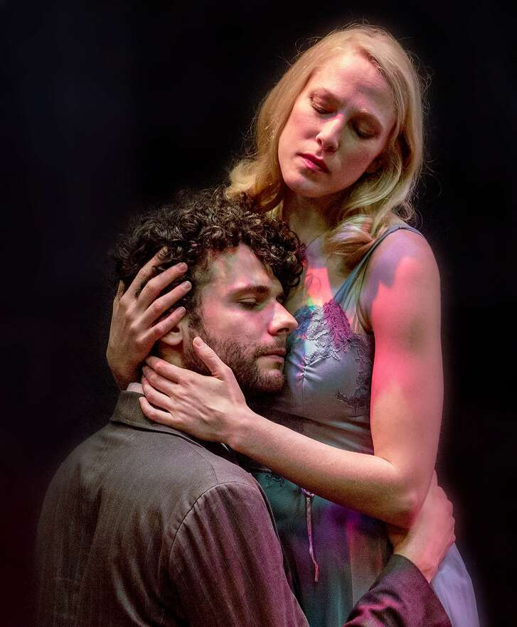 """From left:�Adam Magill as Will Shakespeare and Megan Trout as Viola de Lessups in """"Shakespeare in Love"""" at Marin Theatre Company."""
