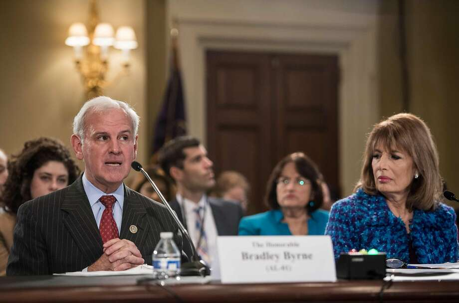 "US Republican Representative from Alabama Bradley Byrne speaks during a House Administration Committee hearing on ""Preventing Sexual Harassment in the Congressional Workplace"" on Capitol Hill in Washington, DC, on November 14, 2017 as Democratic Representative from California Jackie Speier looks on.  Photo: NICHOLAS KAMM, AFP/Getty Images"