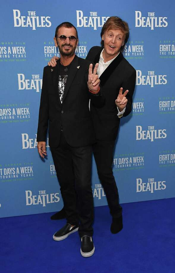 Ringo Starr and Paul McCartney attend the World Premiere of 'The Beatles: Eight Days A Week - The Touring Years' at Odeon Leicester Square on September 15, 2016 in London, England. Greenwich Library will screen the movie Friday night. Photo: David M. Benett /Dave Benett /WireImage / David M. Benett /Dave Benett /WireImage / 2016 David M. Benett