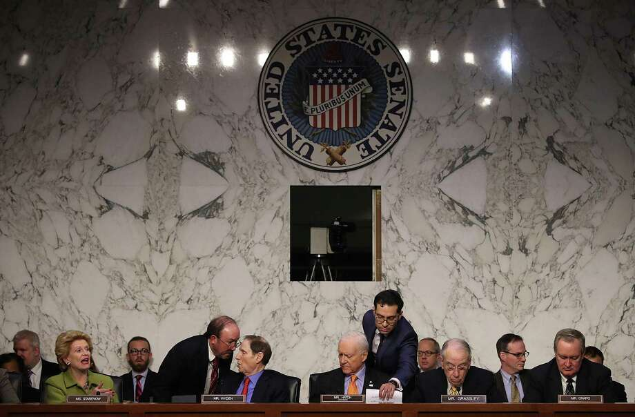 Members of the Senate Finance Committee meet to discuss the Republican tax reform proposal in Washington, DC. Photo: Win McNamee / Win McNamee / Getty Images / 2017 Getty Images