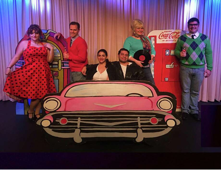 """From left,Kristin Iovene,Tony Galli, Maria Pompile, Jon Escobar, Carleigh Cappetta Schultz and Rick Bennett star in """"Goin' To The Chapel"""" at the Connecticut Cabaret Theatre. Photo: Contributed Photo/Not For Resale"""