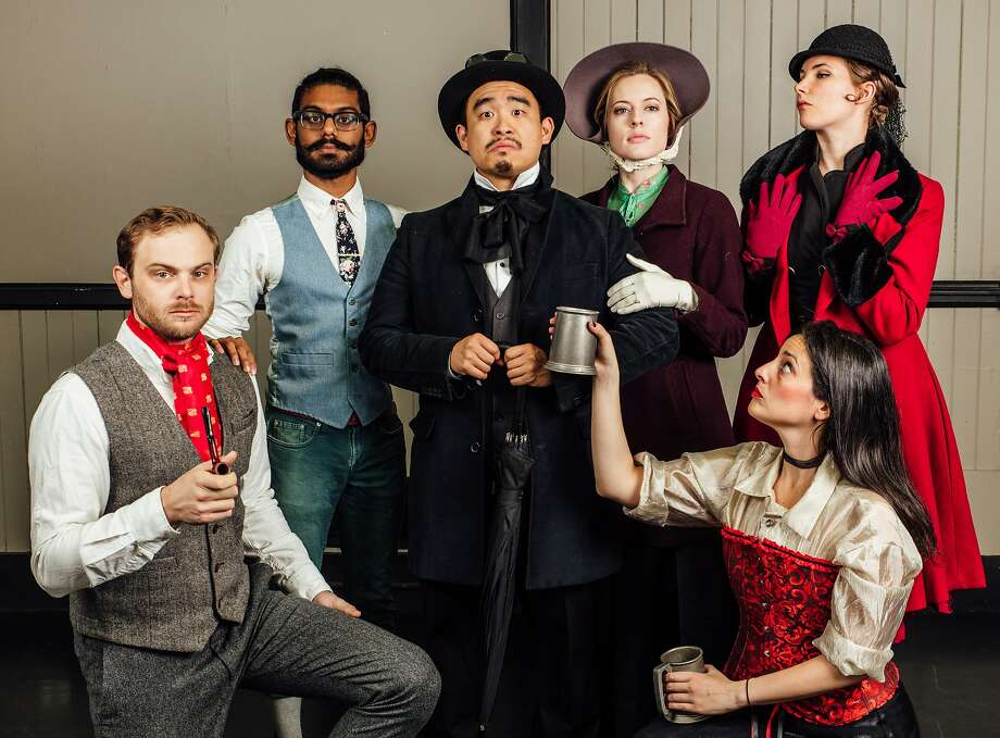 """Raymond Hobbs (left), Tirumari Jothi, Phil Wong, Leah Shesky, Nicole Odell and Jan Gilbert in """"KML Presents: A Bag of Dickens"""" by Killing My Lobster at PianoFight. Photo: James Jordan Pictures, Killing My Lobster"""