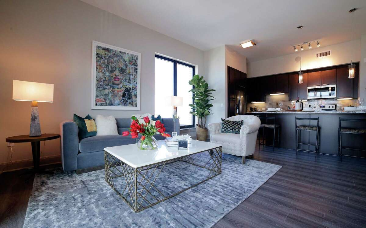 The living area of a two-bedroom residence on the 11th floor at the new Hotel ZaZa in Houston.