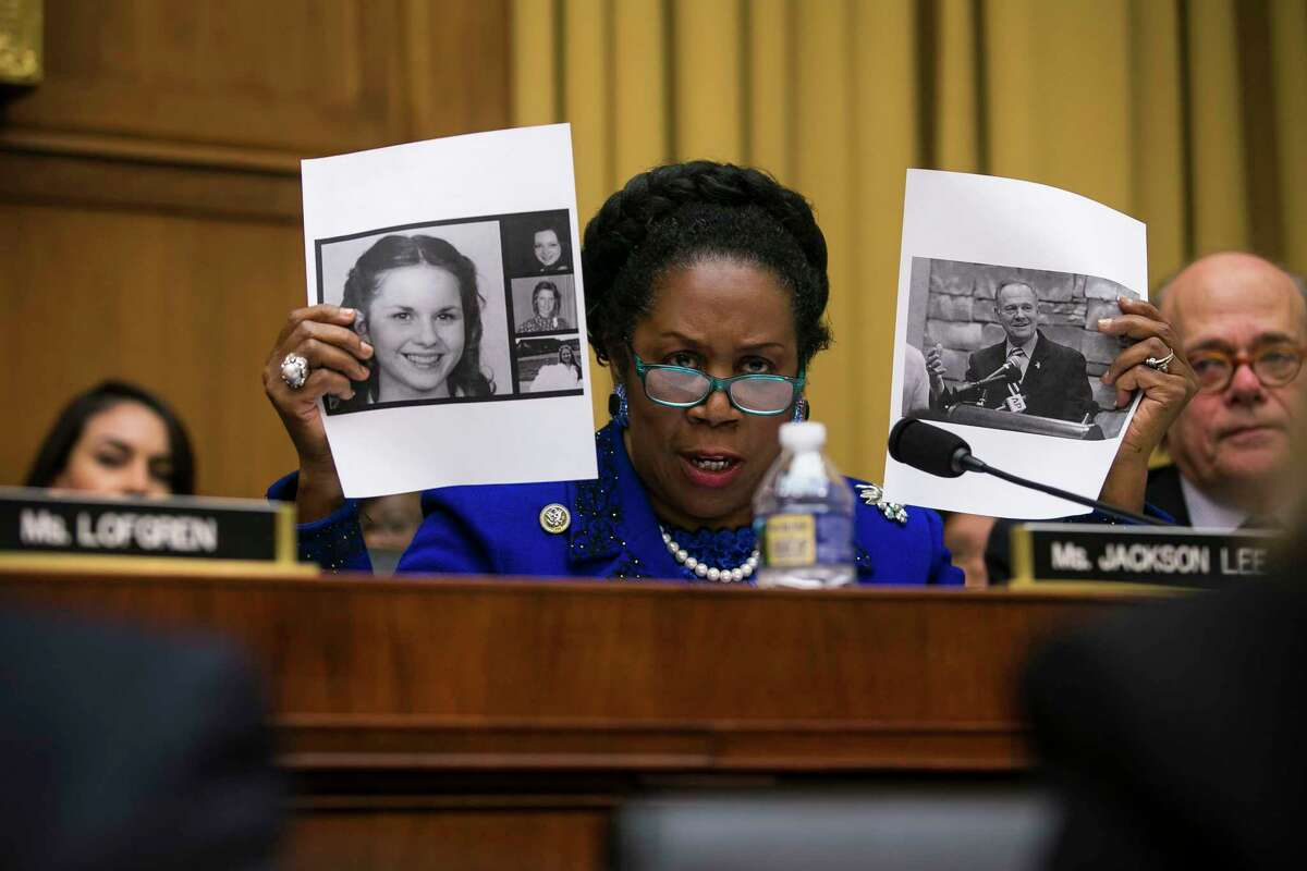 U.S. Rep. Sheila Jackson Lee, D-Texas, questions Attorney General Jeff Sessions about allegations against Senate candidate Roy Moore during a hearing before the House Judiciary Committee on Capitol Hill on Nov. 14, 2017. (Al Drago/The New York Times)